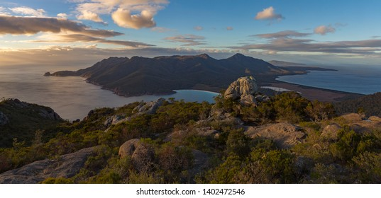 Sunrise at Wineglass Bay from Mount Amos, Tasmania.