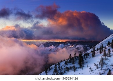 Sunrise in winter on Slide Mountain near Reno, NV on the Mt. Rose Highway.  Colorful clouds and snowy landscape.