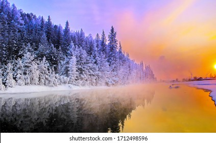 Sunrise winter snow forest river landscape. Winter forest river sunrise view. Winter river sunrise scene. Sunrise winter river landscape