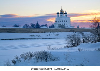 Sunrise winter view of ancient Trinity Cathedral in Pskov, Russia