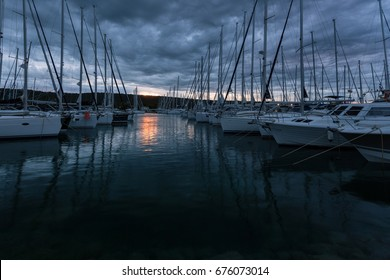 Sunrise in yacht harbor. Holidays on the Adriatic sea in Croatia.