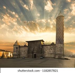 Sunrise in Yakutiye Madrasah in Erzurum Province, Turkey