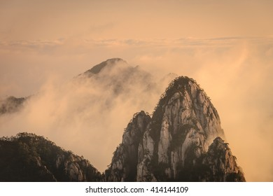 Sunrise at Yellow mountain in Anhui province, China