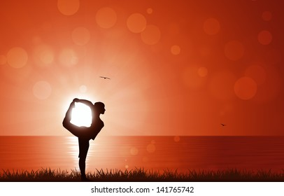 sunrise yoga exercise early in the mornig (or evening)
