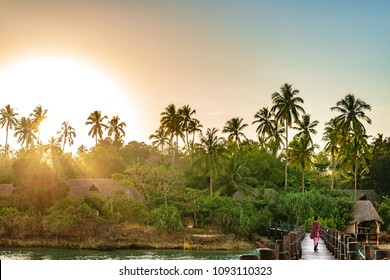 Sunrise of Zanzibar island in Tanzania. Zanzibar is a semi-autonomous region of Tanzania in East Africa.