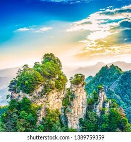 Sunrise of Zhangjiajie. Located in Tianzi Mountain, Zhangjiajie National Forest Park, Zhangjiajie, hunan, China.