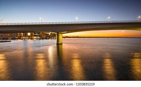 Sunrises behind Sarasota's Circus bridge at dawn
