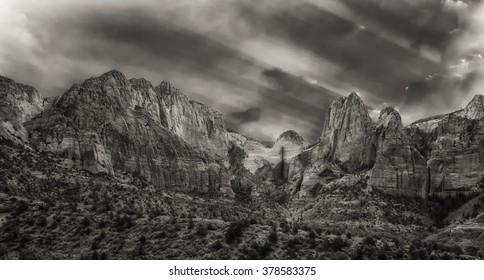 Sunrises over Kolob Canyon part of Zions National Park in the springtime in Utah USA.
