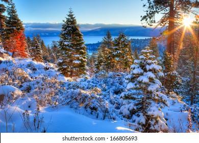 Sunrises over Lake Tahoe in California.