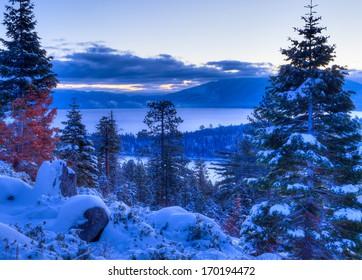 Sunrises over Lake Tahoe in California.