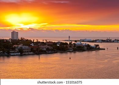 Sunrises in Port Everglades in Ft. Lauderdale, Florida
