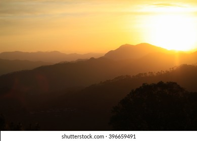 Sun-rising behind the Himalayas in Kasauli, Himachal Pradesh, India