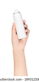 Sunscreen protection can in a female hand, isolated on white background.