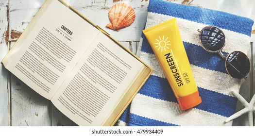 Sunscreen Sunglasses Towel Book Recess Relax Concept