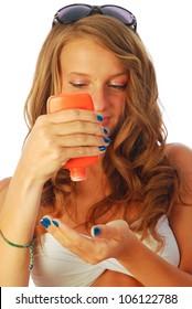 Sunscreen - A woman while spraying a sunscreen 042