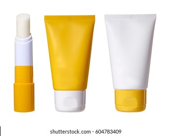 Sunscreens set on a white