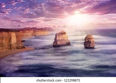 Sunset at 12 apostles at Great Ocean Road, Australia