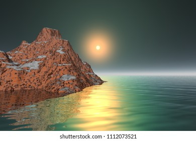 Sunset, 3d rendering,  a mediterranean landscape, rocky mountain, reflection in the sea, and a beautiful sun in the sky.