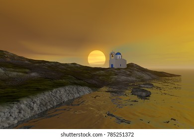 Sunset, 3D rendering, a mediterranean landscape, a church with a bell tower, waves in the sea and a colored sky.