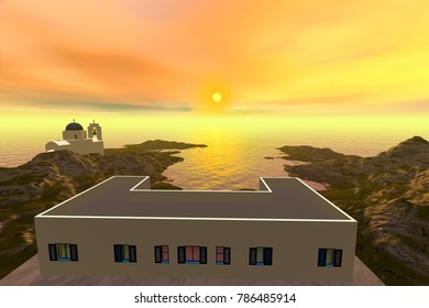 Sunset, 3D rendering, a mediterranean landscape, white house a  beautiful church and a dreamy sky.