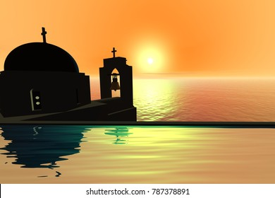 Sunset, 3D rendering, a mediterranean landscape, a church with a bell tower above the sea.