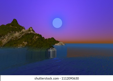 Sunset, 3d rendering, a night landscape, grass and forests on the ground, beautiful sea and a dreamy sky.