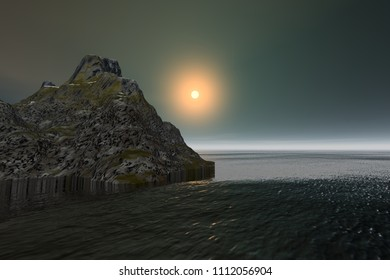 Sunset, 3d rendering, a tropical landscape, rocky mountain, wonderful waters, and a golden sun in the sky.