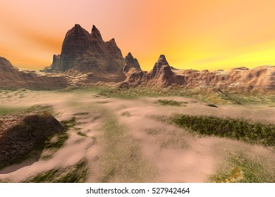 Sunset, 3D rendering,,a natural landscape, mountains, rocks, stones and a golden sky.