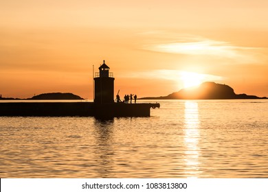 Sunset in Aalesund Town in west Norway