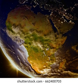Sunset above Africa as seen from Earth's orbit in space. 3D illustration with detailed planet surface. Elements of this image furnished by NASA.