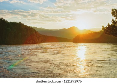 Sunset above Altai mountains and Katun River in Siberia in Russia