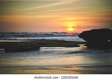 Sunset above the Bali beach