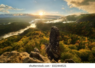 Sunset above Bohemian Switzerland