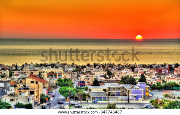 Sunset above the city of Paphos - Cyprus