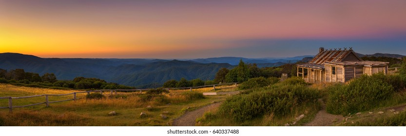Sunset above Craigs Hut, built as the the set for Man from Snowy River movie in the Victorian Alps, Australia