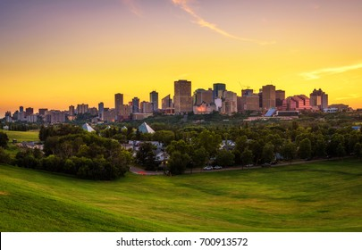 Sunset above Edmonton downtown, Alberta, Canada.