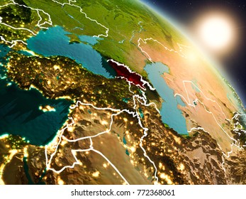 Sunset above Georgia from space on planet Earth with visible country borders. 3D illustration. Elements of this image furnished by NASA.