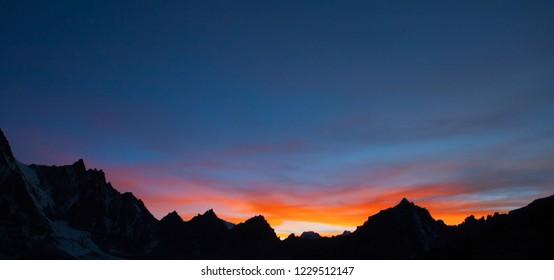 Sunset above the Gokyo lakes, from Gokyo Ri mountain