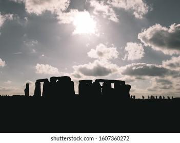 The Sunset above history of Stonehenge