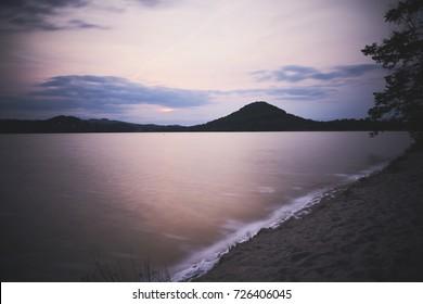 sunset above a lake