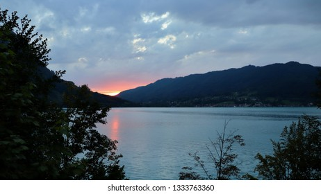 A sunset above the lake. Location: Europe, Austria, Attersee