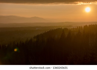 Sunset above Liptov valley with Low Tatras in background, Slovakia