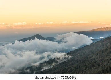 Sunset above the mountain and cloud at Mount Rinjani, Lombok Island, Indonesia.