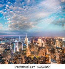 Sunset above New York City - Midtown Manhattan aerial view.