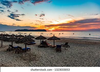 Sunset above Ngapali beach in Thandwe, Burma