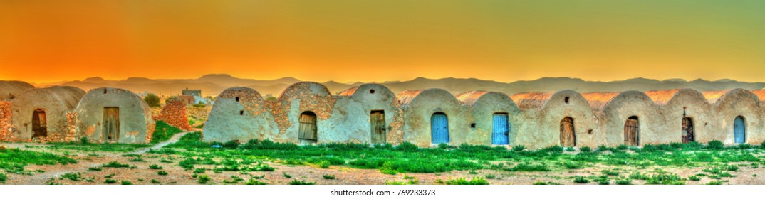 Sunset above Ouled Boubaker in Tunisia. North Africa