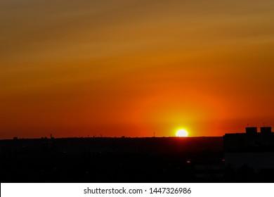 Sunset above Prague city in the Czech Republic. Beautiful sunset above city.