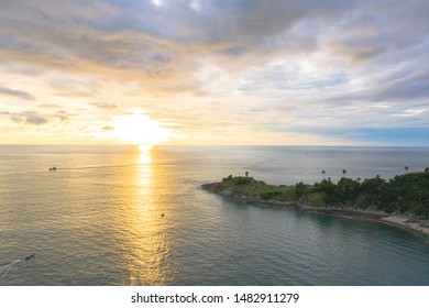 sunset above Promthep cape is a mountain of rock that extends into the sea in Phuket Thailand.Promthep cape is the most popular viewpoint in Phuket.
