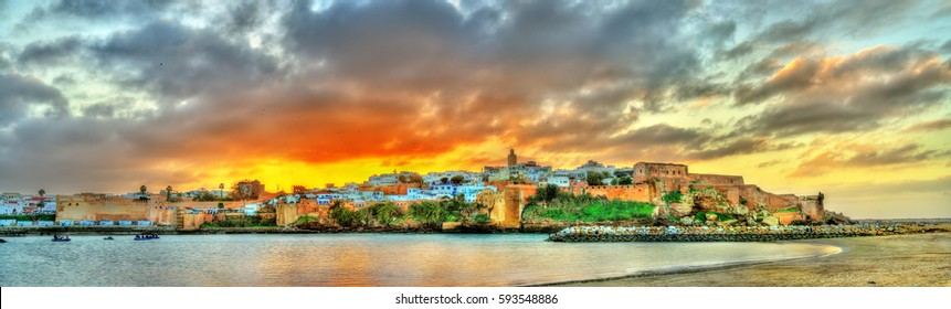 Sunset above Rabat and the Bou Regreg river in Morocco