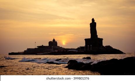Sunset above sea coast silhouette Kanyakumari Comorin Cape India
